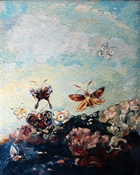 butterflies, after odilon redon (pictures of pigment) by vik muniz