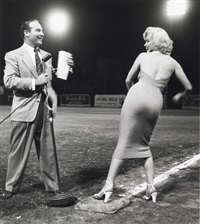 marilyn monroe and ralph edwards at the 1952 hollywood entertainers baseball game by frank worth