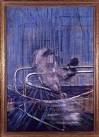 untitled, (crouching nude on rail) by francis bacon