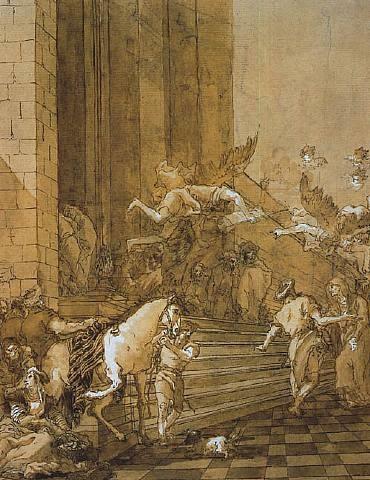 la rencontre d'anne la prophétesse et du prêtre siméon devant le temple by giovanni domenico tiepolo