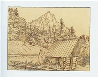 log house with woodpile, men throwing stones by carl josef alois agricola