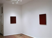installation view - second room- red painting, 2004 (left), red painting, 2004 (right) by joseph marioni