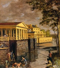 fishing, fairmount water works by walter stuempfig