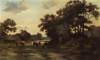 cows in a landscape by johan hendrik kaemmerer