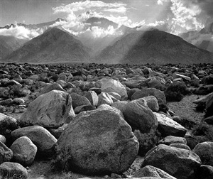 mount williamson, sierra nevada, from manzanar, ca, 1944 by ansel adams