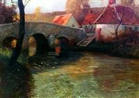 autumn river with bridge by george ames aldrich