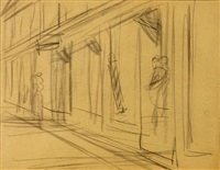 street scene with barbershop by edward hopper