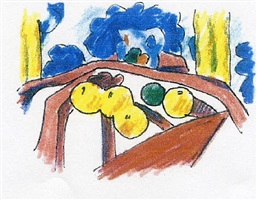 study for sunset nude with matisse apples on pink tablecloth by tom wesselmann
