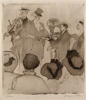 le concert sur la plage (musicians on the beach) by jacques villon
