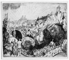 paysage au buttes-chaumont (2nd planche) by jean-emile laboureur