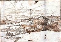 rivière dans un paysage vallonné (figures géométriques -au verso) by claude lorrain