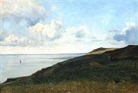 le havre, la mer vue du haut des falaises by jean-baptiste-camille corot