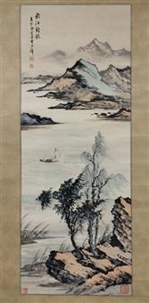 chinese landscape painting by huang jun bi mounted no by huang junbi