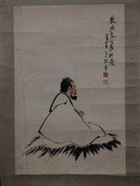 chinese painting by zhang da qian mounted with no frame by zhang daqian