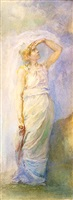dawn- allegorical study in watercolor by john la farge