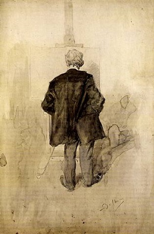 a standing man, seen from behind, looking at a painting on an easel by giovanni boldini