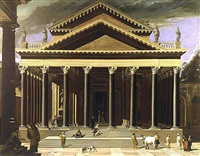 view of an idealized temple in the corinthian order by viviano codazzi