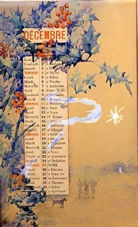 design for a calendar: the month of december, with the voyage of the magi by louise abbéma