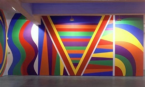 wall drawing #918 irregular vertical bands and horizontal bands, 13 x 29', latex paint, 1999 by sol lewitt