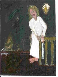 woman at top of stairs by marc baseman
