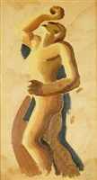 sketch for figure in american epic by thomas hart benton