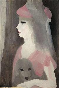 jeune femme au chien by marie laurencin