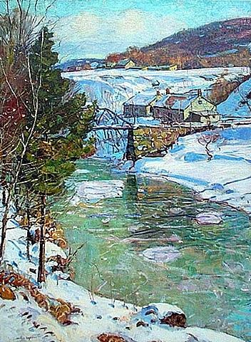 icy river, berkshires, circa 1915 by george gardner symons