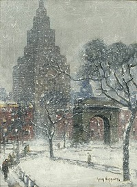 washington square, winter, new york by guy carleton wiggins
