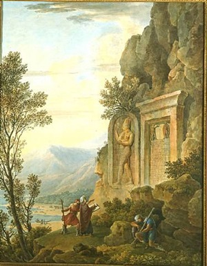 young artist studying the assyrian stele at the border to nahral-kelb river (libanon) by louis françois cassas