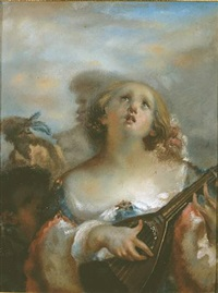 young girl playing mandolin by jean françois millet