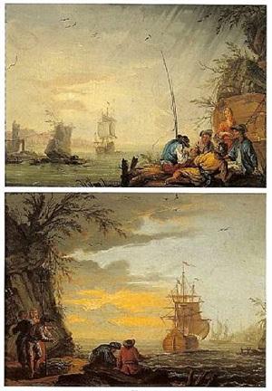 scène de ports méditérranéens, animés de pêcheurs by albertus van der burch
