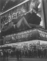 huge billboard dipicting marlene dietrich in kismet by andreas feininger