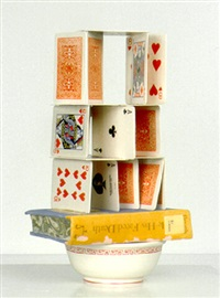 small card stack with book and bowl by richard shaw
