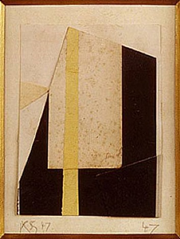 untitled (black, white, gold) by kurt schwitters
