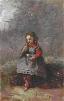 mlle. léotine desavary tenant une tourterelle (713) by jean-baptiste-camille corot