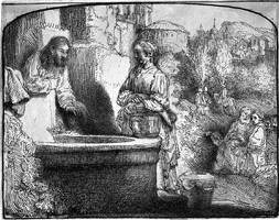 christ and the woman of samaria: an arched print by rembrandt van rijn