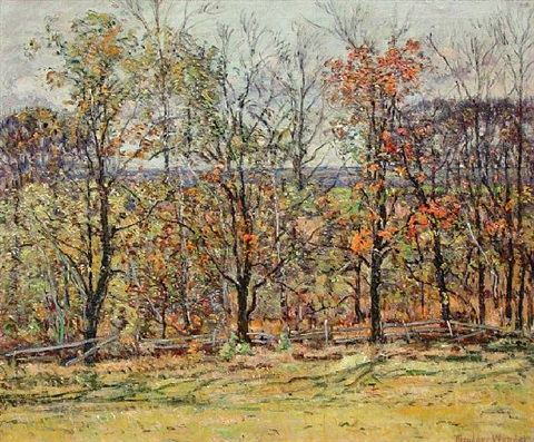 view from the artist's farmhouse, ipswich, ma by theodore wendel