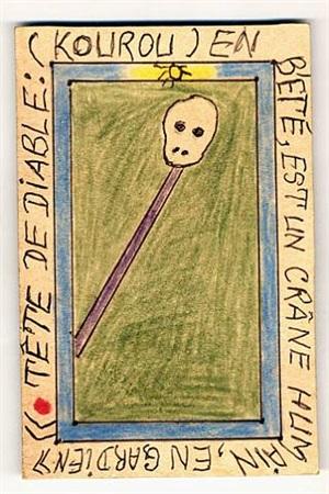tête de diable: (kourou) en bété, est un crâne humain, en gardien by frédéric bruly bouabré