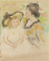 simone seated on the grass next to her mother by mary cassatt