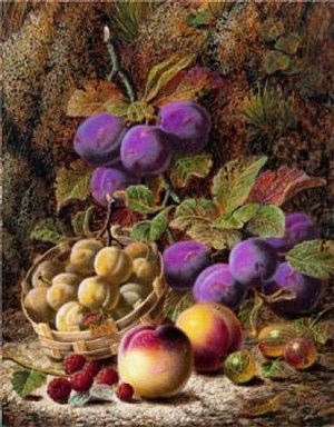 still life of peaches, plums, gooseberries and raspberries by oliver clare