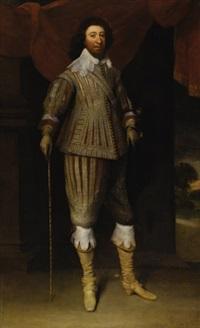 portrait of william fielding, 1st earl of denbigh (+ portrait of susan villiers, 1st countess of denbigh; 2 works) by balthazar gerbier d'ouvilly