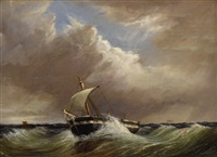 untitled - seascape with single-mast fishing vessel by thomas h. hair