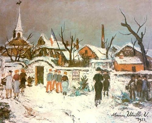 paysage sous la neige à maixe by maurice utrillo
