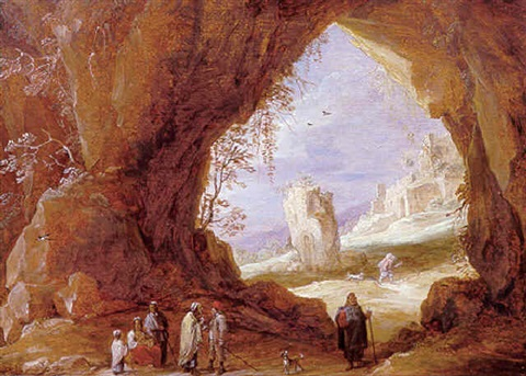 an italianate landscape with travellers resting in a grotto with ruins beyond by david teniers the younger