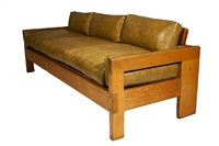 oak and leather sofa, 1970's by arthur espenet carpenter