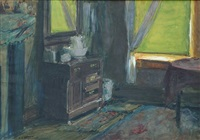 interior of the artist's apartment, new york city by edward henry potthast