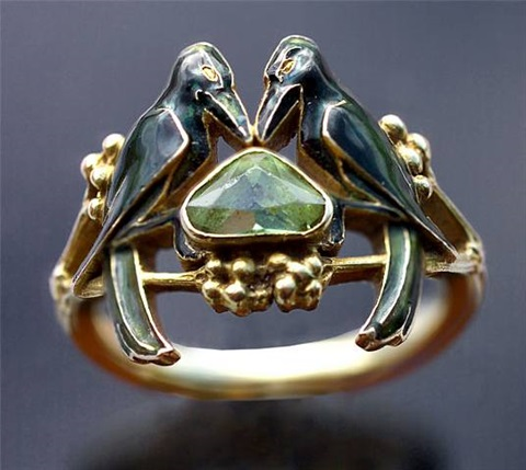 'the betrothal -to have & to hold' art nouveau ring by rené lalique