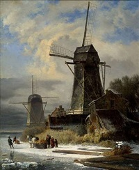 paysage d'hiver au moulin by andreas schelfhout