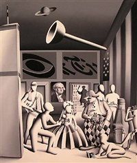 the father of our country brings ketchup to the prado by mark kostabi