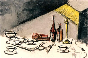 nature morte à la lampe (482) by bernard buffet